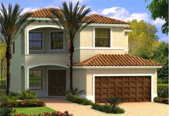 single family home with palm tree